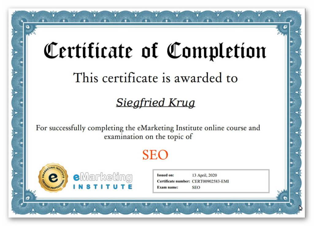 Bescheingung SEO Certification