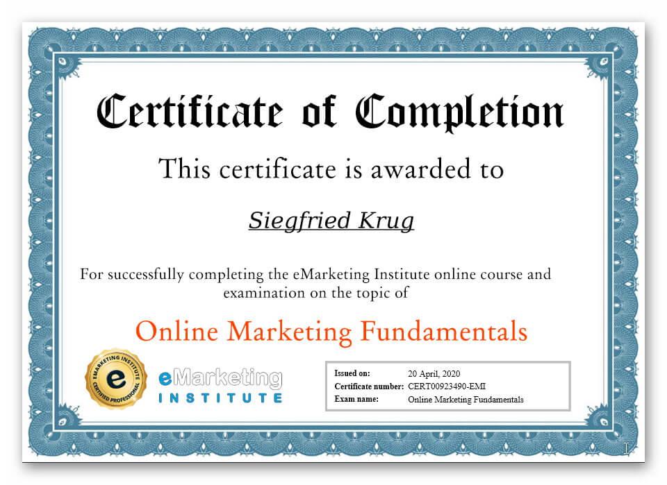 Bescheinigung Test Online Marketing
