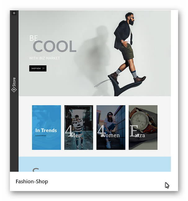 Neue Webseite Mode Shop